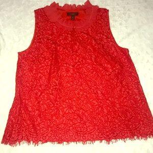 Large Red Lace & Chiffon Sleeveless Top J Crew
